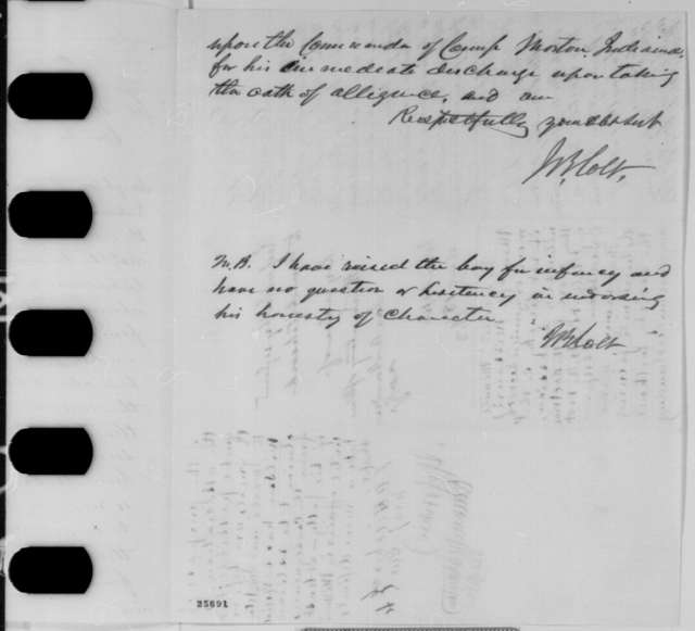 James B. Colt to William Hoffman, Tuesday, August 18, 1863  (Case of Singleton Wilson; endorsed by Hoffman, James A. Hardie, Ethan A. Hitchcock, and Edwin M. Stanton)