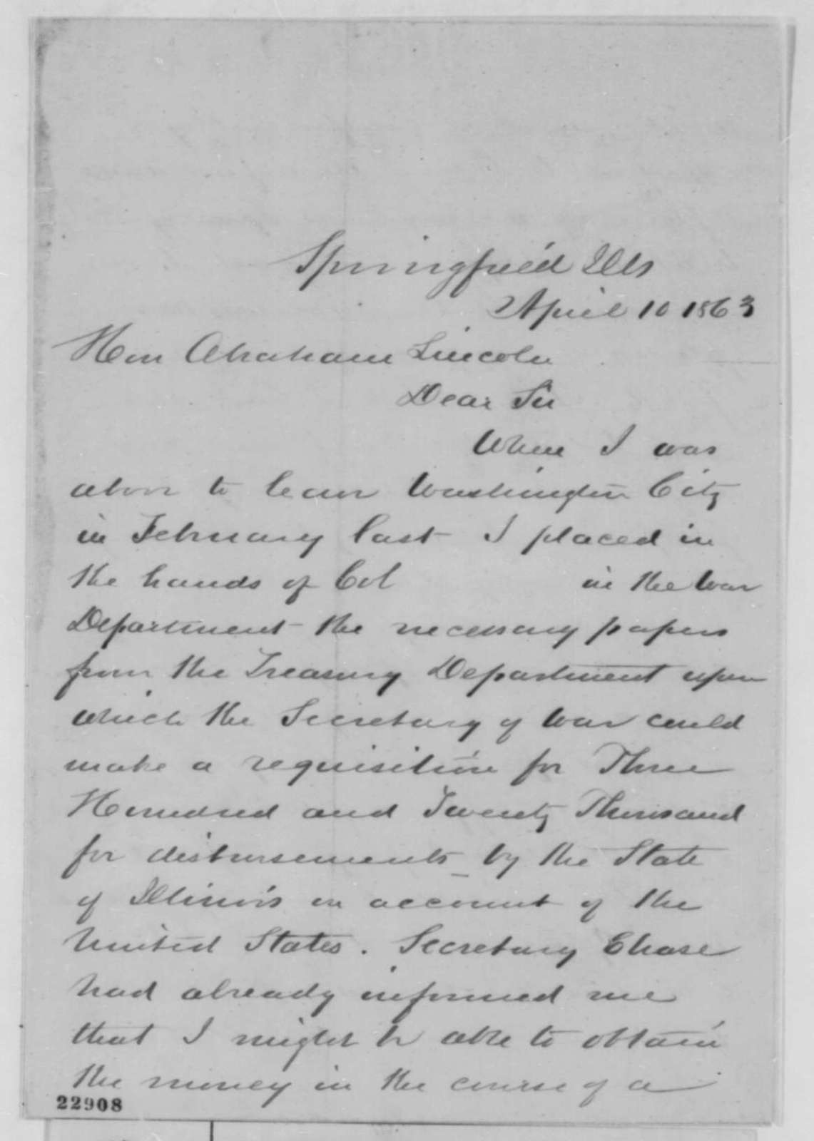 James C. Conkling to Abraham Lincoln, Friday, April 10, 1863  (Payment of money to State of Illinois)
