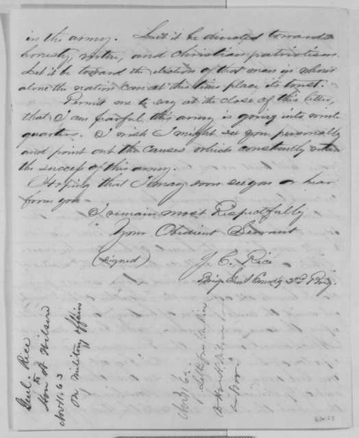 James C. Rice to Henry Wilson, Wednesday, November 11, 1863  (Political and military affairs)