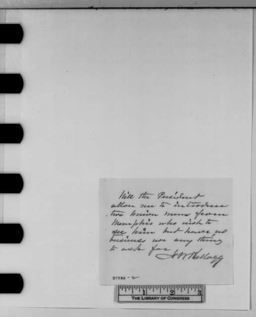 James C. Veatch to Abraham Lincoln, Monday, November 02, 1863  (Introduces citizen from Memphis; with note from J. W. Kellogg to Lincoln)