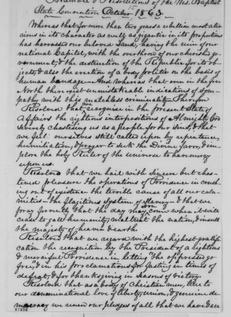 James Delany to Abraham Lincoln, October 1863  (Resolutions from the Wisconsin Baptist State Convention)