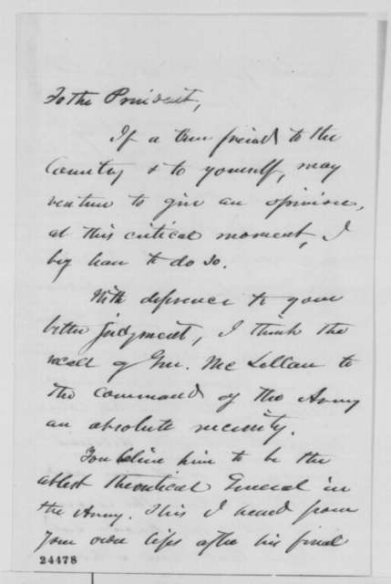 James Dixon to Abraham Lincoln, Sunday, June 28, 1863  (Recommends recall of General McClellan)