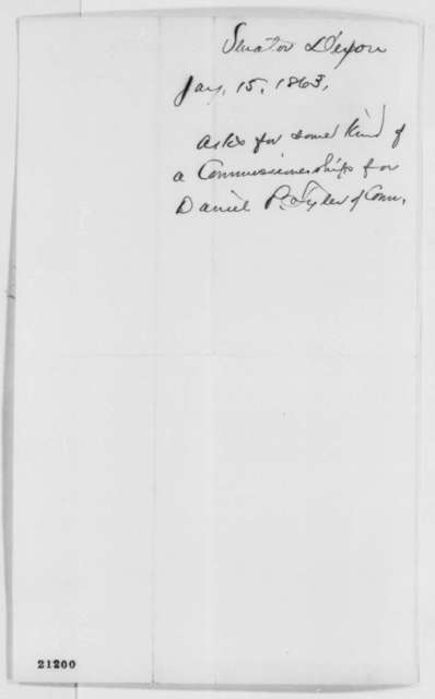 James Dixon to Abraham Lincoln, Thursday, January 15, 1863  (Recommends Daniel P. Tyler for office)