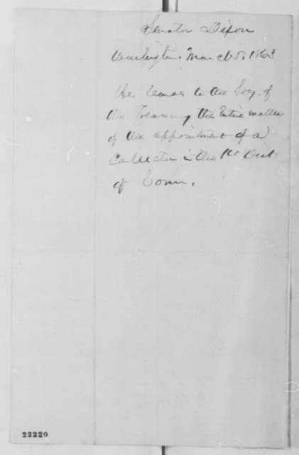 James Dixon to Abraham Lincoln, Thursday, March 05, 1863  (Appointment of a collector of internal revenue)