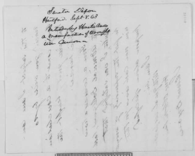James Dixon to Abraham Lincoln, Tuesday, September 08, 1863  (Introduces Horatio Ames)