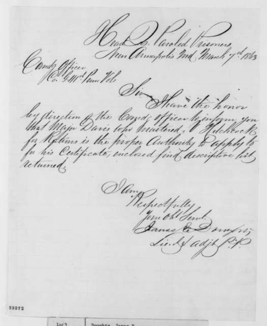 James E. Doughty to Unknown, Saturday, March 07, 1863  (Cover letter)