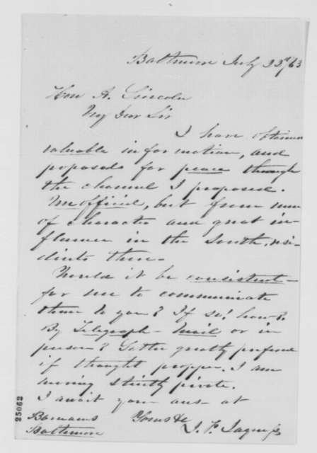 James F. Jaquess to Abraham Lincoln, Wednesday, July 22, 1863  (Peace negotiations with the Confederacy)