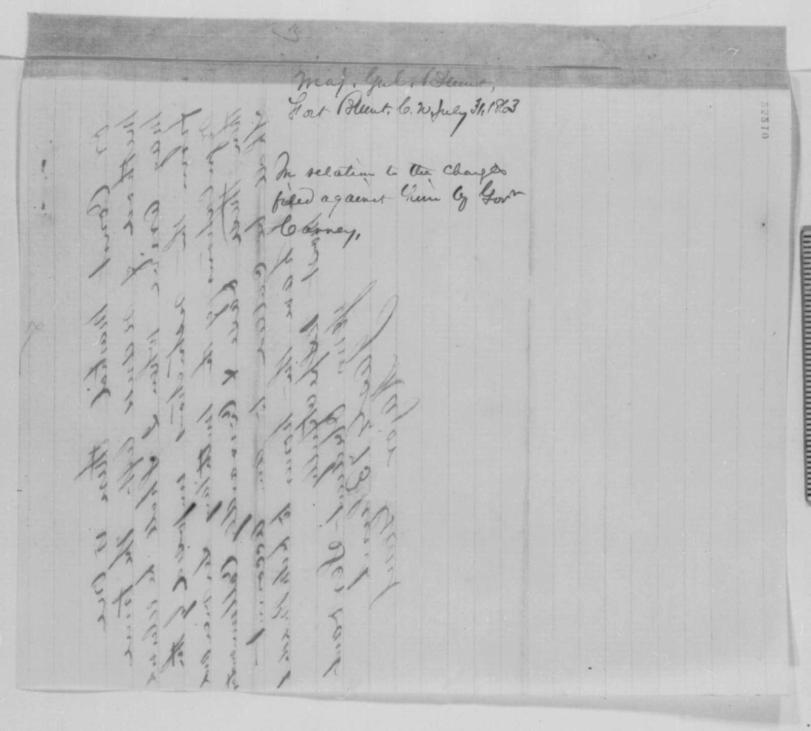 James G. Blunt to Abraham Lincoln, Friday, July 31, 1863  (Defends himself against charges made by Governor Carney)
