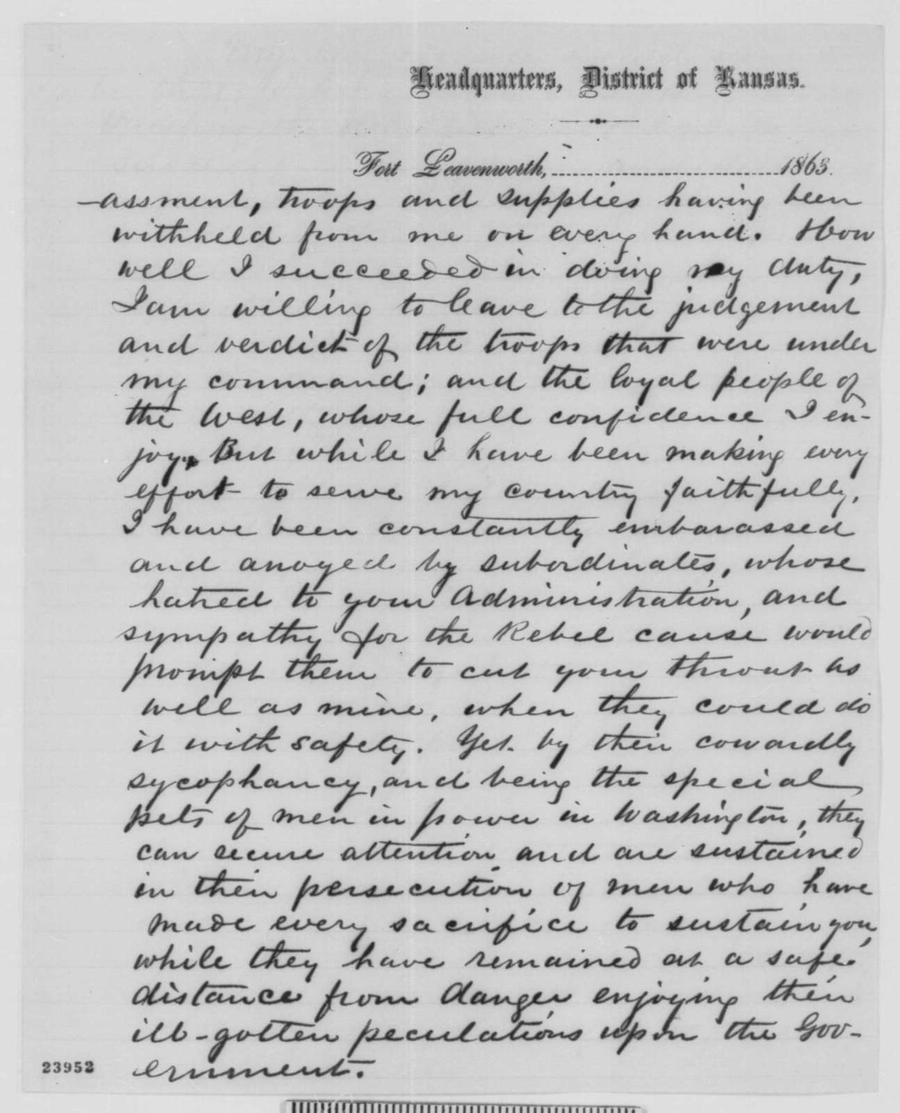 James G. Blunt to Abraham Lincoln, Tuesday, June 09, 1863  (Defends his conduct as commander in Kansas)