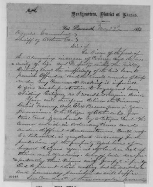 James G. Blunt to Donald Carmichael, Friday, May 22, 1863  (Trial of prisoners in civil court)