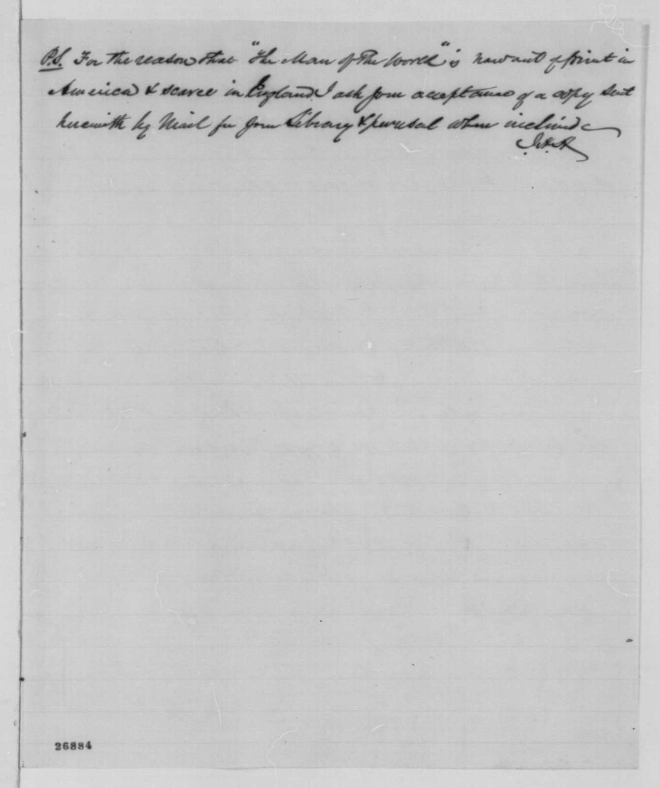James H. Hackett to Abraham Lincoln, Saturday, October 03, 1863  (Sends copy of play and informs Lincoln of his plans to perform in Washington)