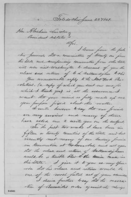 James M. Ashley to Abraham Lincoln, Tuesday, June 23, 1863  (Vallandigham and political situation in Ohio)