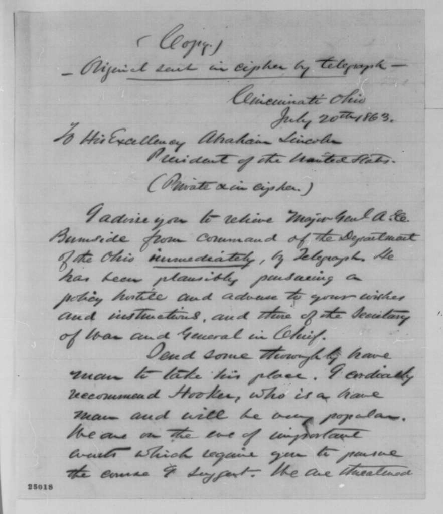 James M. Cutts Jr. to Abraham Lincoln, Monday, July 20, 1863  (Telegram recommending removal of General Burnside from command)