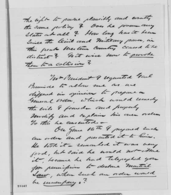 James M. Cutts Jr. to Abraham Lincoln, Sunday, July 26, 1863  (Recommends removal of General Burnside and offers additional political advice on affairs in Ohio)