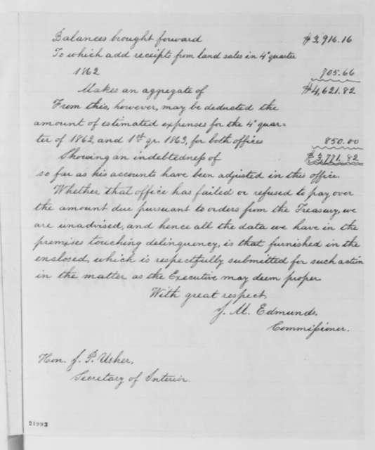 James M. Edmunds to John P. Usher, Thursday, February 26, 1863  (Removal of James Compton)