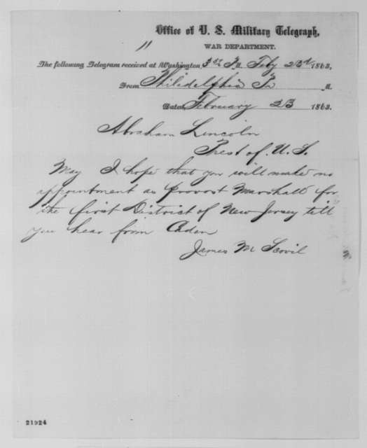James M. Scovel to Abraham Lincoln, Monday, February 23, 1863  (Telegram regarding New Jersey appointment)