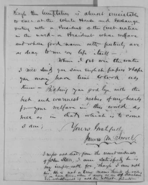 James M. Scovel to Abraham Lincoln, Monday, November 23, 1863  (Political affairs)