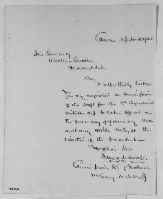 James M. Scovel to Abraham Lincoln, Monday, November 23, 1863  (Resignation)