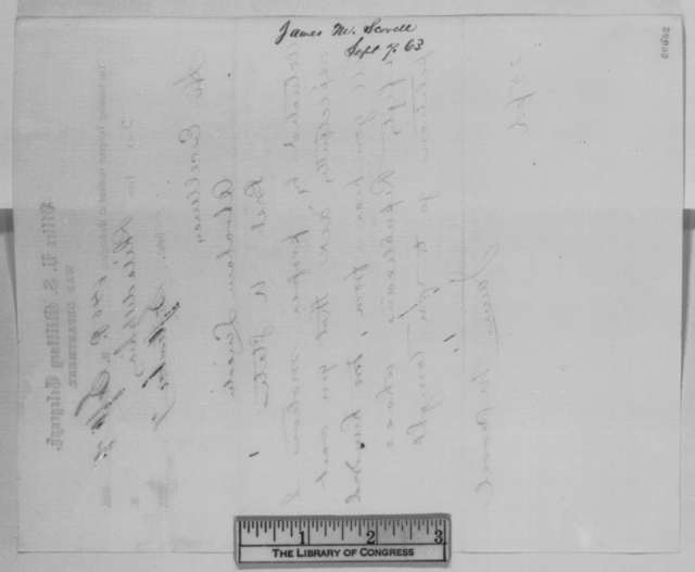 James M. Scovel to Abraham Lincoln, Monday, September 07, 1863  (Telegram concerning the appointment of a postmaster at Camden, New Jersey)