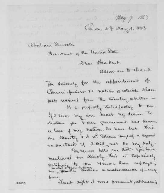 James M. Scovel to Abraham Lincoln, Saturday, May 09, 1863  (Appreciates his appointment)