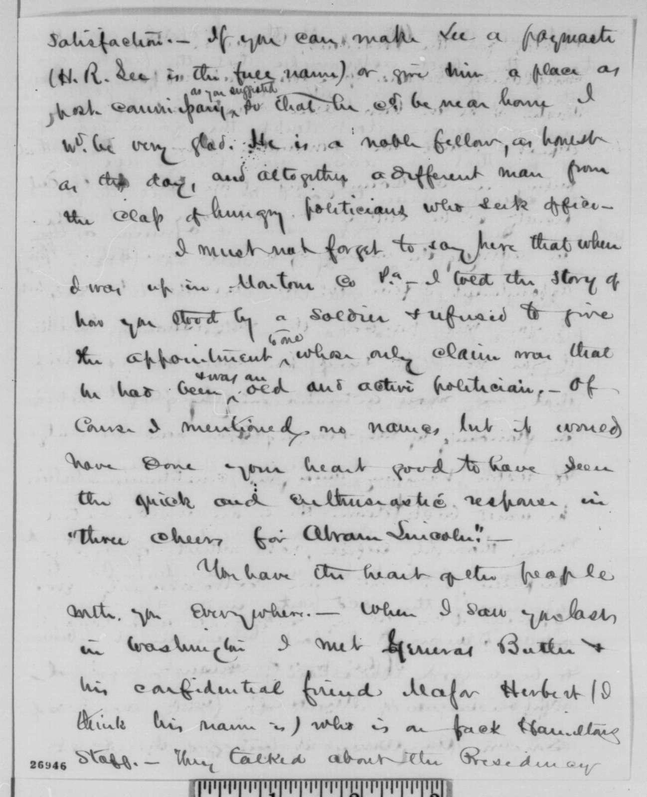 James M. Scovel to Abraham Lincoln, Saturday, October 03, 1863  (Politics)