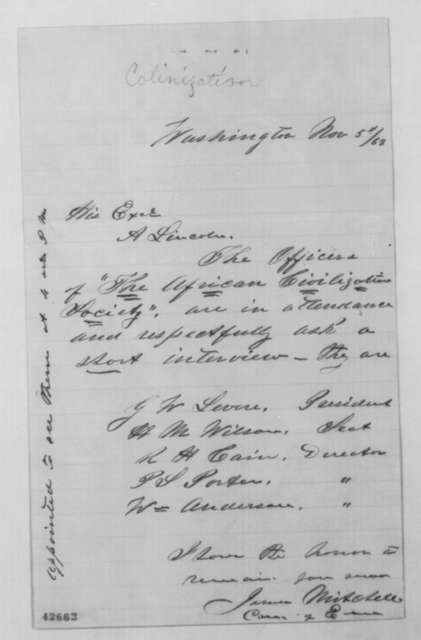 James Mitchell to Abraham Lincoln, Thursday, November 05, 1863  (Meeting with officials from African Civilization Society)