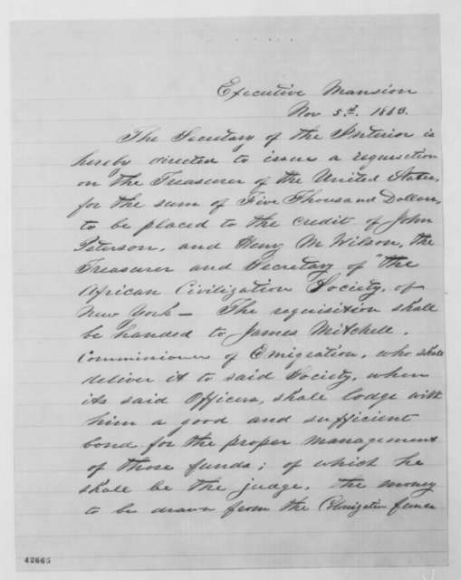 [James Mitchell] to John P. Usher, Thursday, November 05, 1863  (Draft of order to release funds to African Civilization Society)