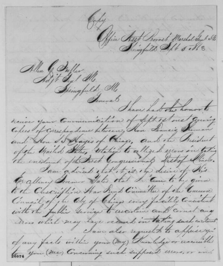 James Oakes to Allen C. Fuller, Saturday, September 05, 1863  (Conscription in Illinois)