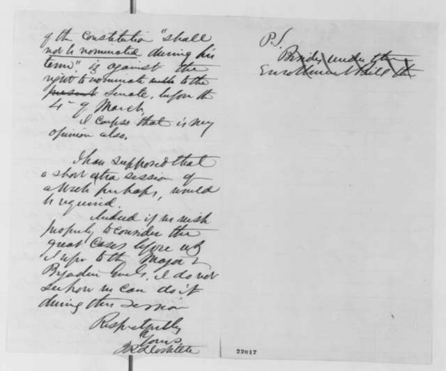 James R. Doolittle to Abraham Lincoln, Friday, February 27, 1863  (Senate confirmation of appointments)