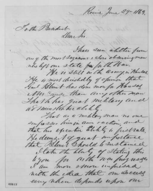 James R. Doolittle to Abraham Lincoln, Monday, June 29, 1863  (Support for General Blunt)