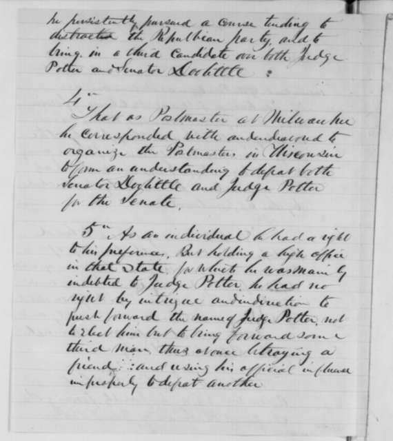 James R. Doolittle to Abraham Lincoln, Tuesday, March 17, 1863  (Removal of Milwaukee postmaster; endorsed by Abraham Lincoln)