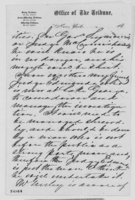 James R. Gilmore to Abraham Lincoln, Friday, July 17, 1863  (Horatio Seymour and affairs in New York)