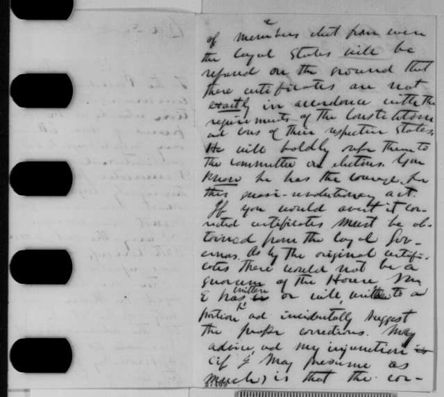 James R. Hood to Abraham Lincoln, Thursday, October 22, 1863  (Plan of Emerson Etheridge to reorganize the House of Representatives)