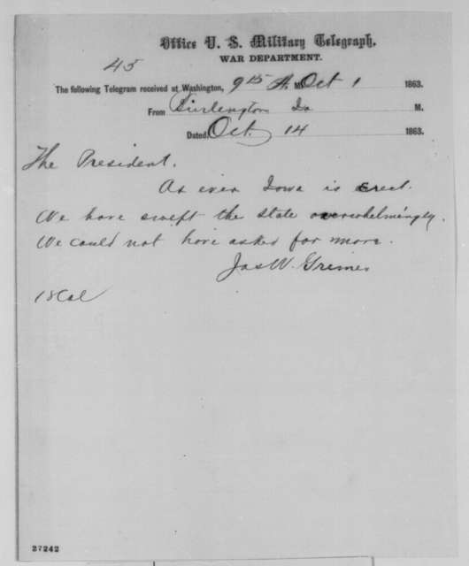 James W. Grimes to Abraham Lincoln, Wednesday, October 14, 1863  (Telegram reporting Iowa election results)