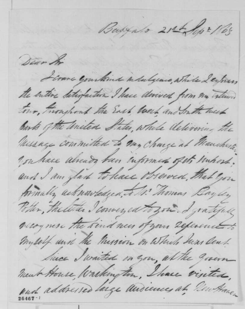 James W. Massie to Abraham Lincoln, Monday, September 21, 1863  (Report on his tour of the North)