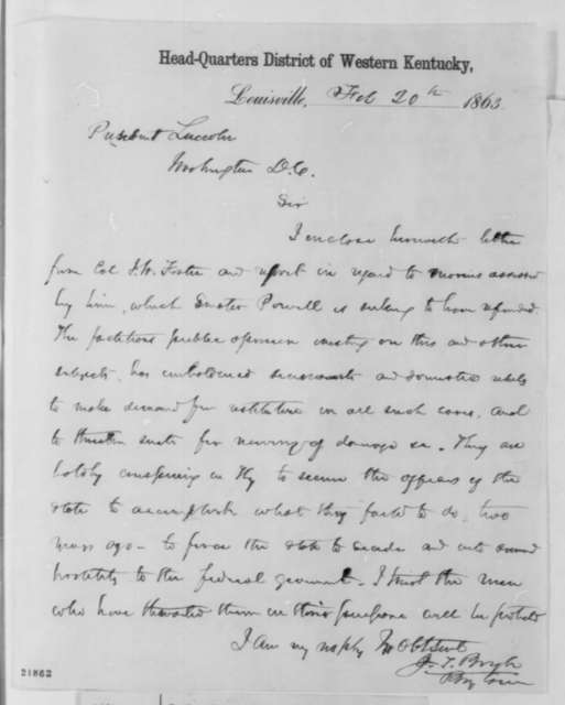 Jeremiah T. Boyle to Abraham Lincoln, Friday, February 20, 1863  (Military assessments in Kentucky)