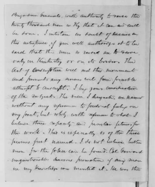 Jeremiah T. Boyle to Abraham Lincoln, Monday, March 02, 1863  (Military situation in Kentucky)