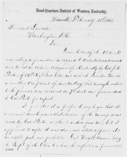 Jeremiah T. Boyle to Abraham Lincoln, Wednesday, February 11, 1863  (Military assessments in Kentucky)