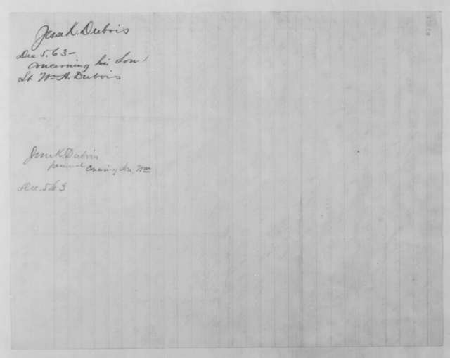 Jesse K. Dubois to John G. Nicolay, Saturday, December 05, 1863  (William A. Dubois)