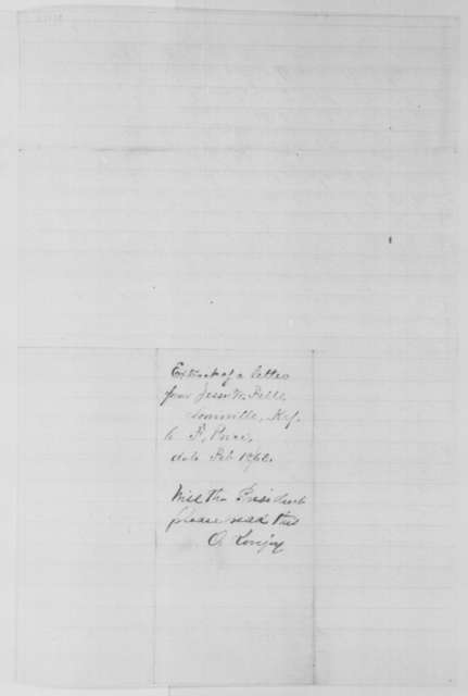 Jesse W. Fell to F. Price, Wednesday, February 18, 1863  (Extract of letter concerning affairs in Kentucky; endorsed by Owen Lovejoy)