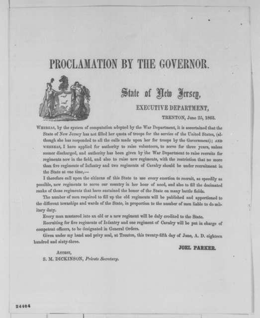 Joel Parker, Thursday, June 25, 1863  (Printed proclamation)