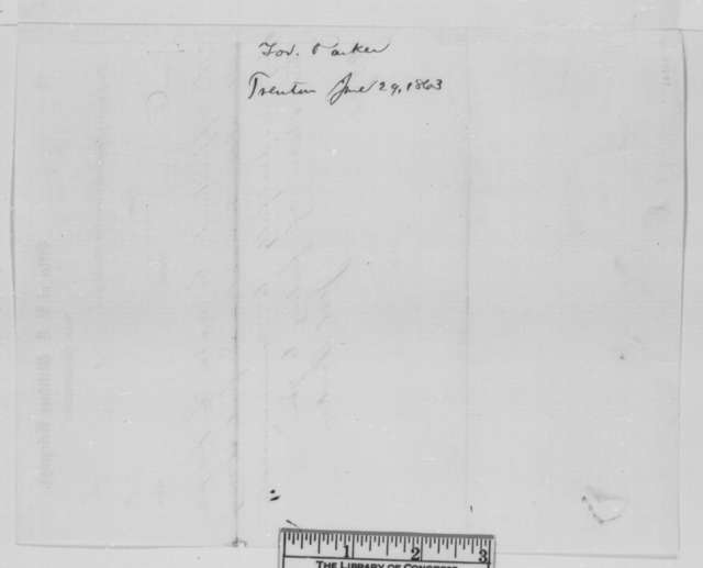 Joel Parker to Abraham Lincoln, Monday, June 29, 1863  (Telegram recommending McClellan be placed in command of forces to repel invasion of Pennsylvania)