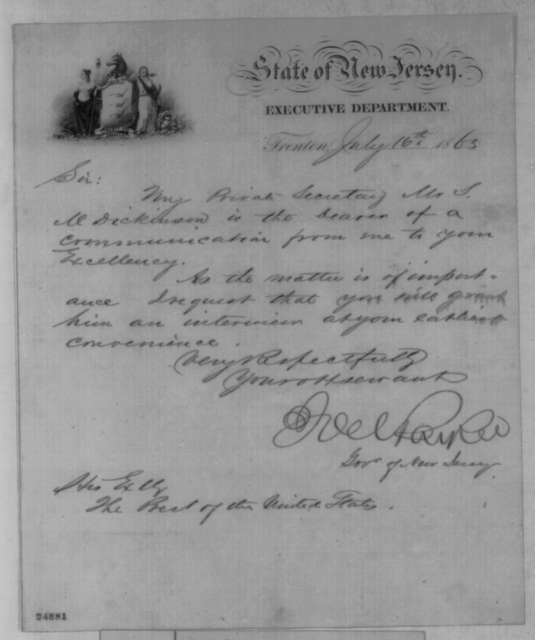 Joel Parker to Abraham Lincoln, Thursday, July 16, 1863  (Introduces S. M. Dickinson)