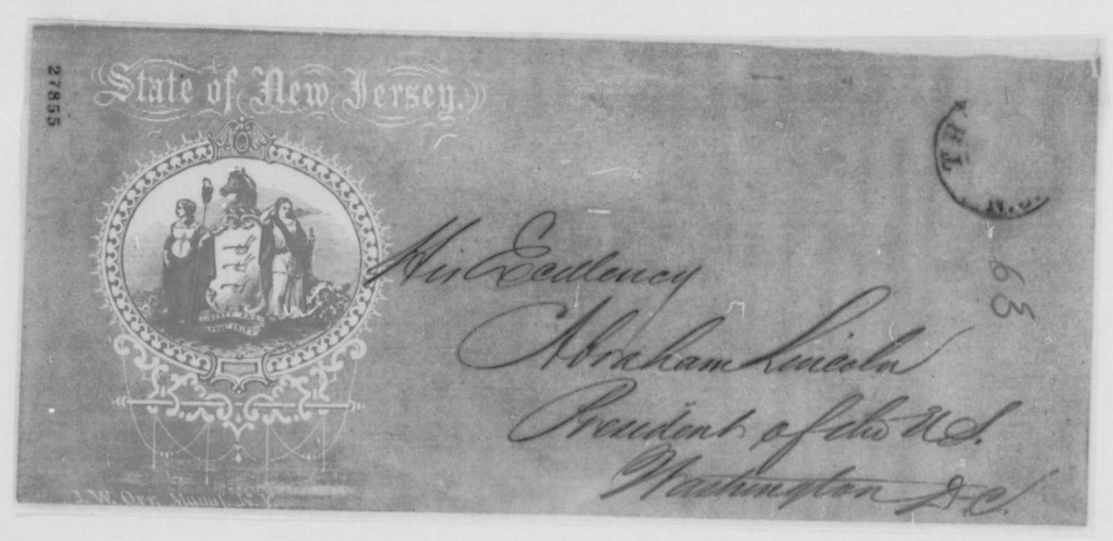Joel Parker to Abraham Lincoln, Thursday, November 05, 1863  (Recruitment in New Jersey)