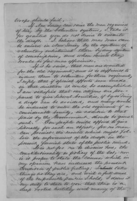 Joel Parker to Abraham Lincoln, Wednesday, July 15, 1863  (Enrollment of troops in New Jersey and Conscription Act; endorsed by Lincoln)
