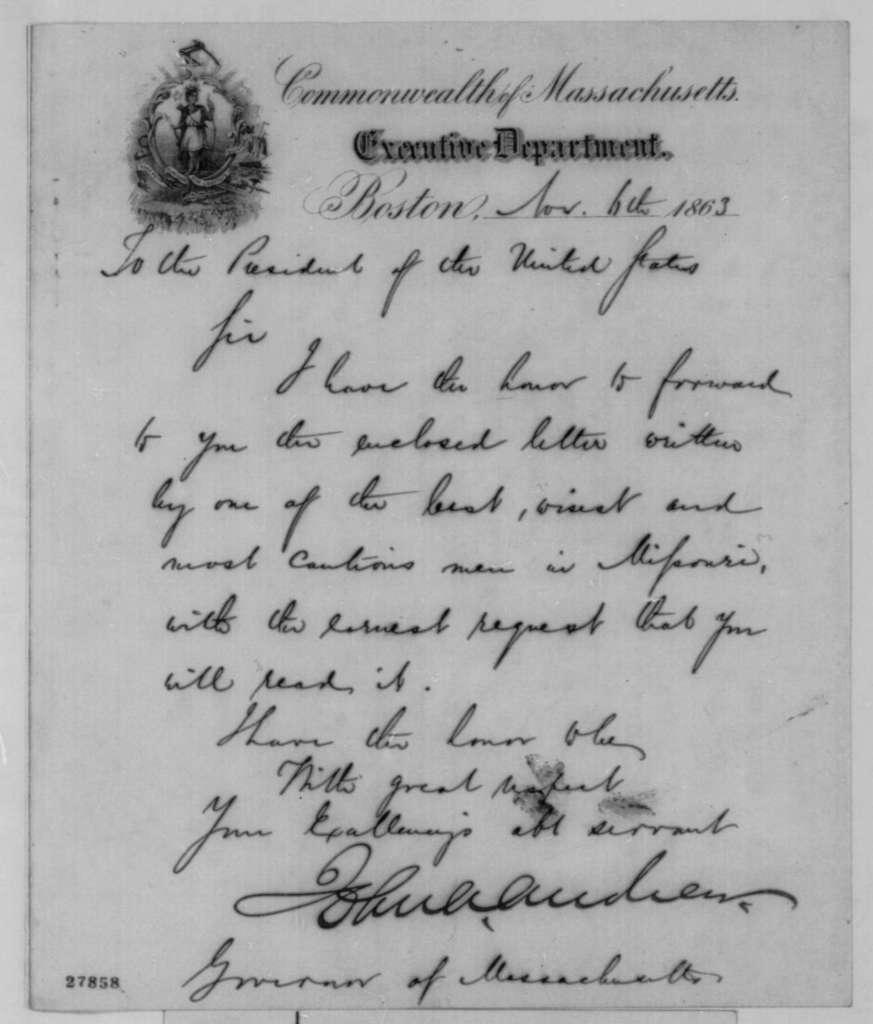 John A. Andrew to Abraham Lincoln, Friday, November 06, 1863  (Cover letter)