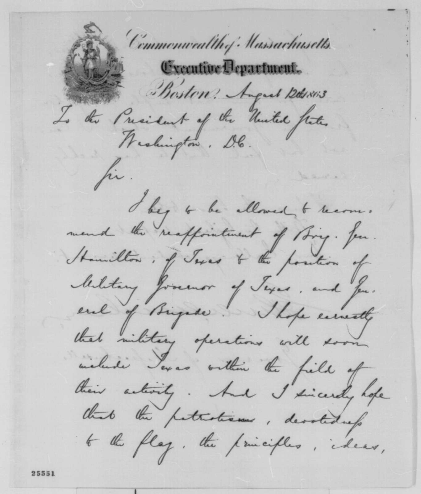 John A. Andrew to Abraham Lincoln, Wednesday, August 12, 1863  (Writes on behalf of Andrew J. Hamilton)