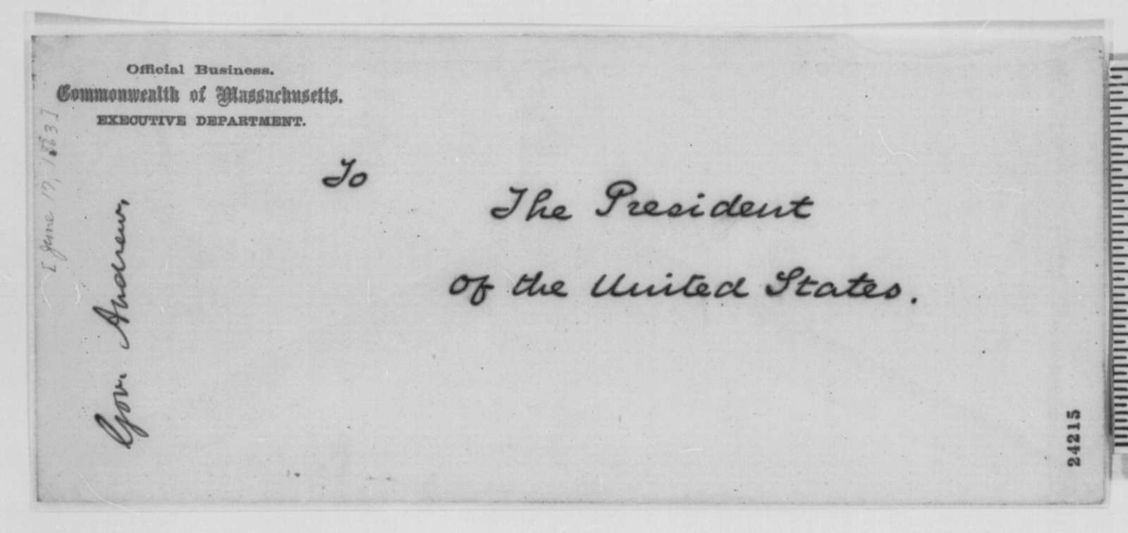 John A. Andrew to Abraham Lincoln, Wednesday, June 17, 1863  (Cover letter)