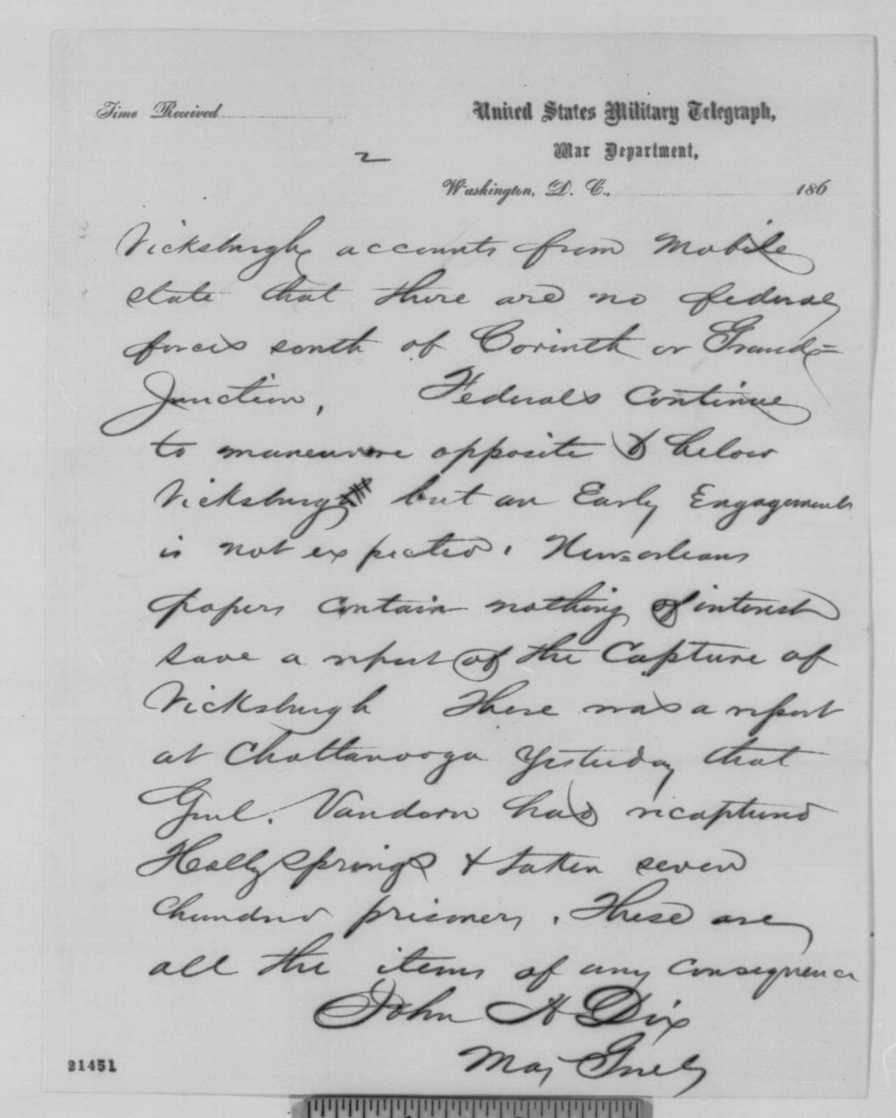 John A. Dix to Abraham Lincoln, Saturday, January 31, 1863  (Telegram reporting news from Richmond papers)