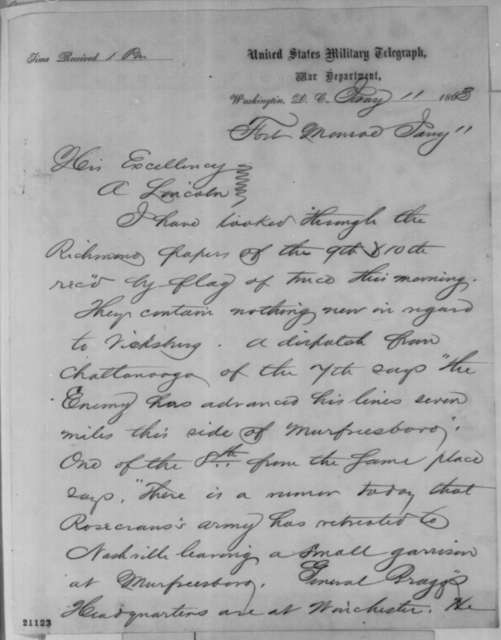 John A. Dix to Abraham Lincoln, Sunday, January 11, 1863  (Telegram reporting news from Richmond papers concerning Vicksburg)